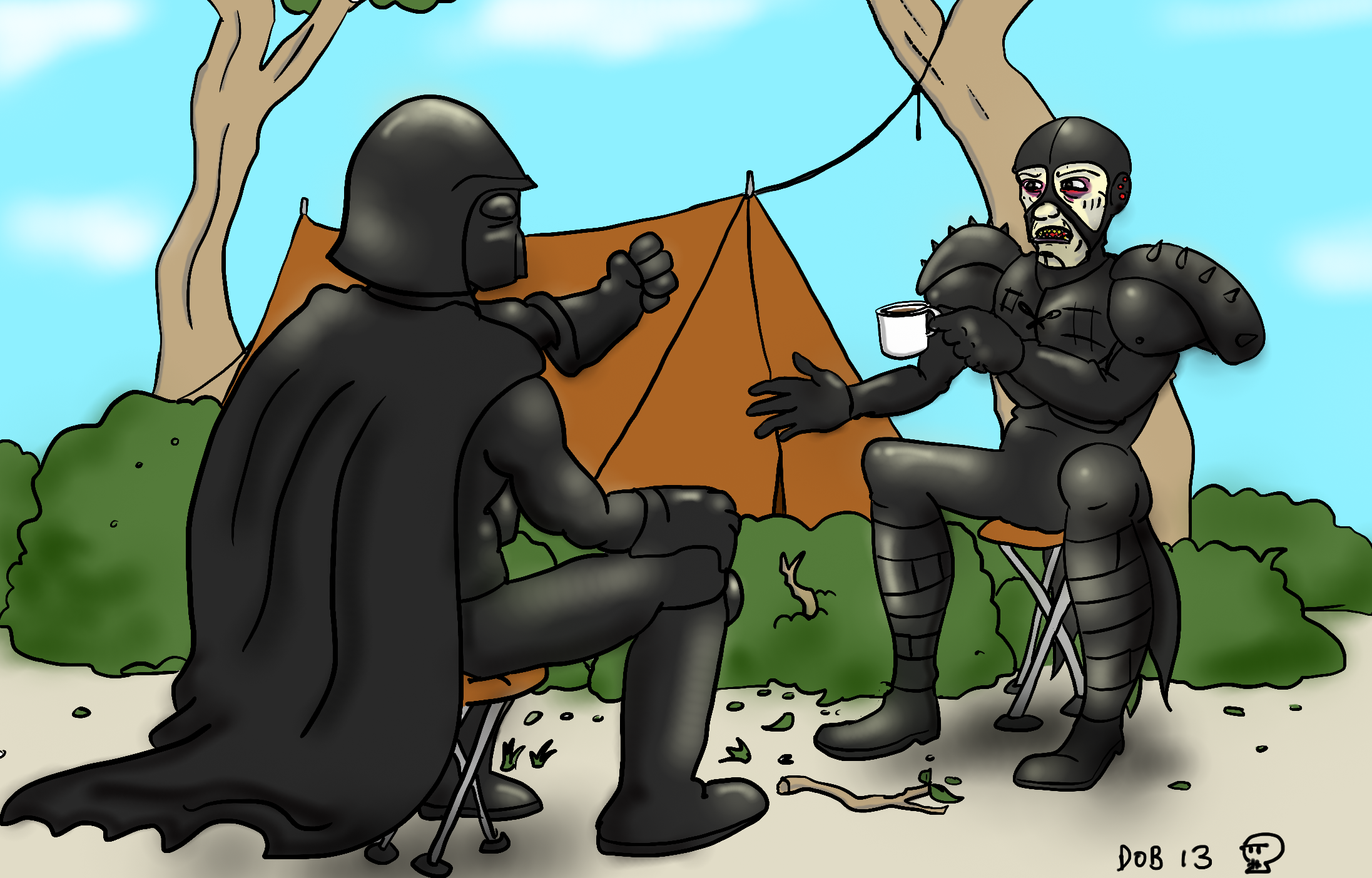 Darth and Scorpy camping