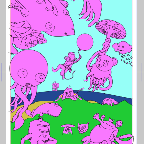 Most large monsters added and colour areas blocked out